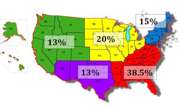 geographic distribution Jan 2013