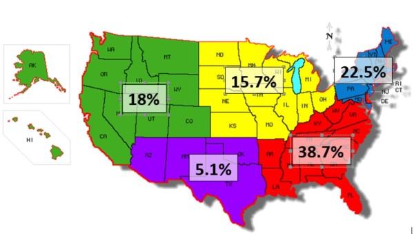 geographic distribution Jul 2019